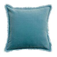 Kissen mit Fransen FARA Velours Quartz blau 45 x 45