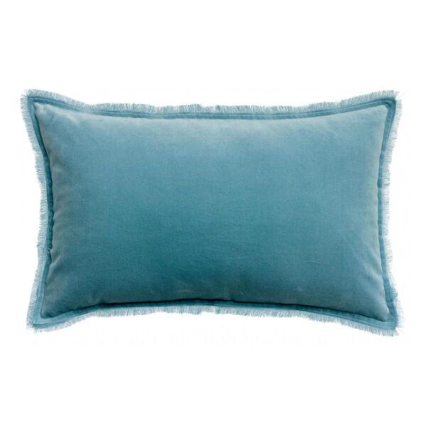 Kissen mit Fransen FARA Velours Quartz blau 65 x 40