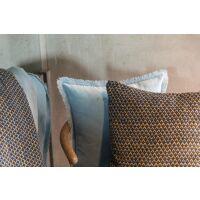 Kissen mit Fransen FARA Velours Quartz blau 50 x 30