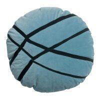 Kissen FARA Velours bestickt Quartz blau rund 50cm