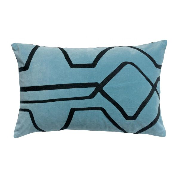 Kissen FARA Velours bestickt Quartz blau 65x40