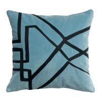 Kissen FARA Velours bestickt Quartz blau 45x45