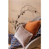 Kissen mit Fransen FARA Velours 30x50 cm Bernstein