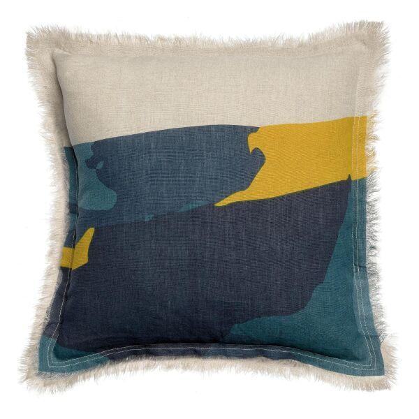 Kissen ZEFF NAIA Leinen blau/gelb 45 X 45