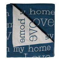 Wende-Strickdecke Love Is In My Home blau/creme