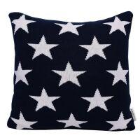 Strick-Kissenhülle Stars dunkelblau 45x45 cm