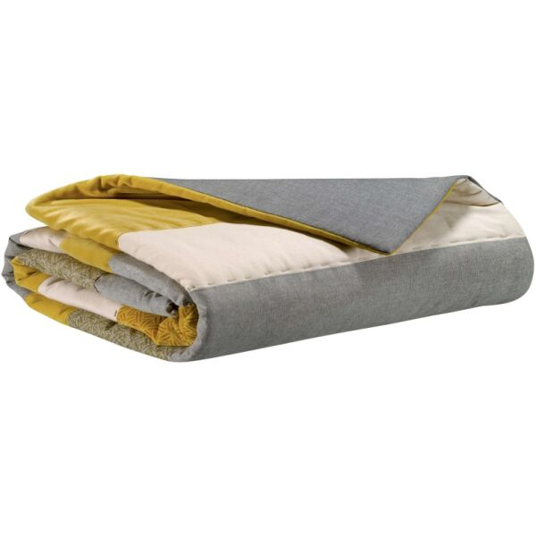Bettdecke LINIA Patchwork creme/grau/gelb