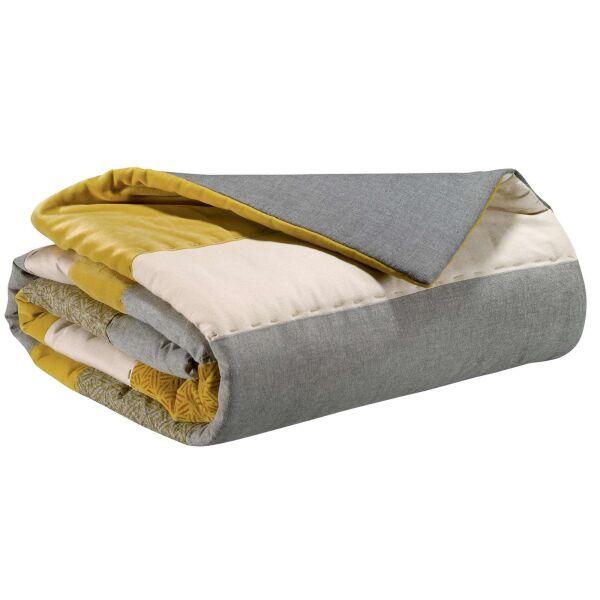 Bettdecke LINIA Patchwork creme/grau/gelb 260x260 cm