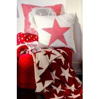 Wende-Strickdecke Stars Rot