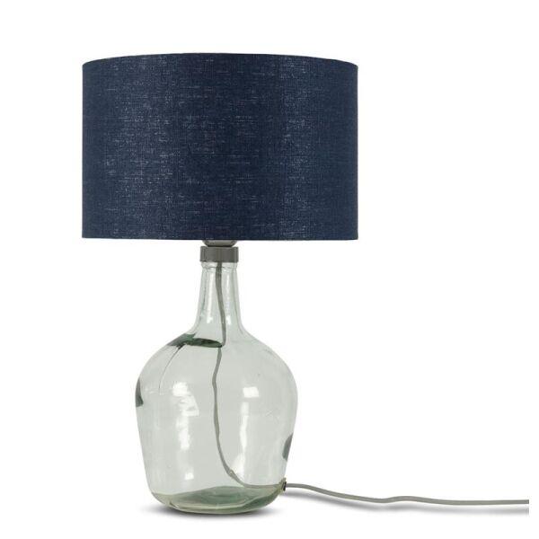 Tischlampe MURANO mit Öko-Leinenschirm, klein Blue Denim