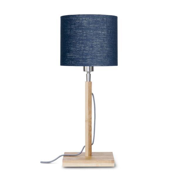 Tischlampe FUJI Bambus/Leinen Blue Denim