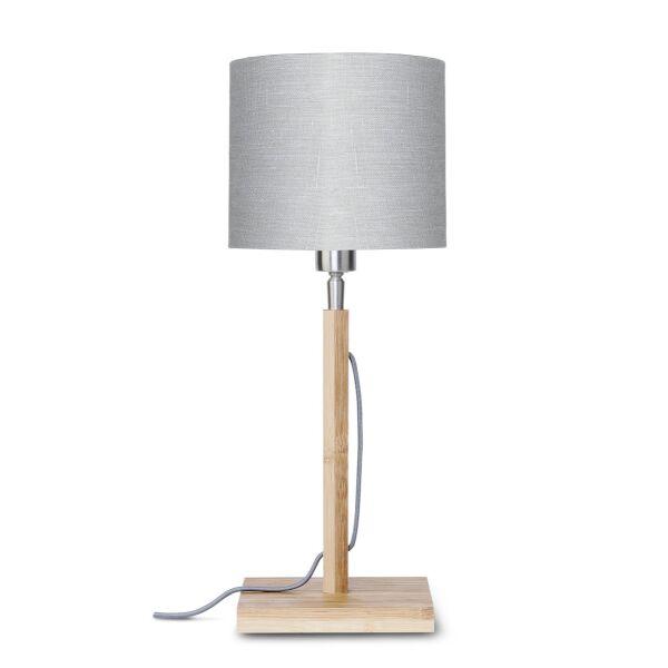 Tischlampe FUJI Bambus/Leinen Hellgrau
