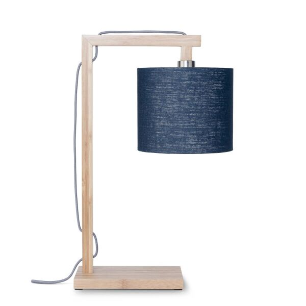 Tischlampe HIMALAYA Bambus/Leinen Blue Denim