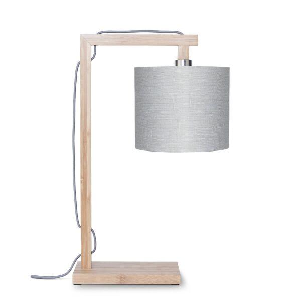 Tischlampe HIMALAYA Bambus/Leinen Hellgrau