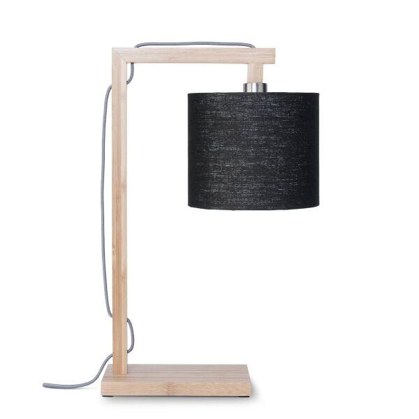 Tischlampe HIMALAYA Bambus/Leinen schwarz