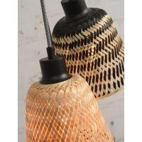 Hängelampe KALIMANTAN mit 3 Schirme aus Bambus, schwarz/natur