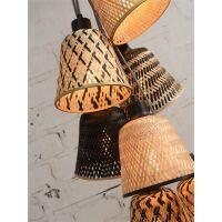 Hängelampe KALIMANTAN 7 Schirme aus Bambus schwarz/natur