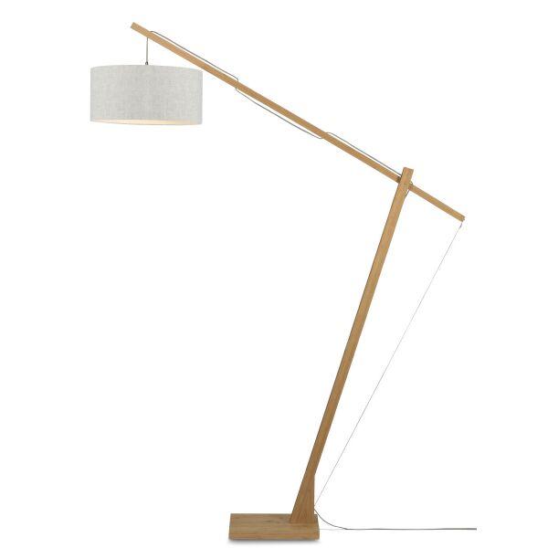 Stehlampe Montblanc aus Bambus und Leinen Leinen Hell