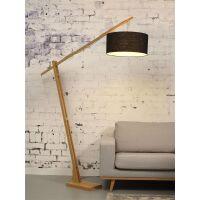 Stehlampe Montblanc aus Bambus und Leinen schwarz