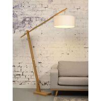Stehlampe Montblanc aus Bambus und Leinen weiß