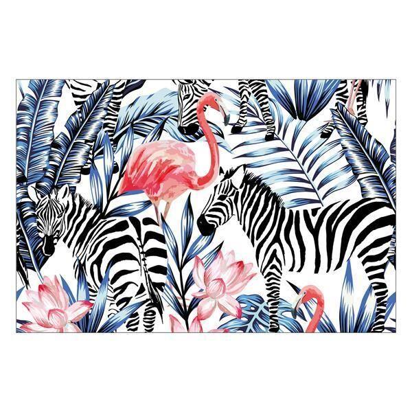 Vinyl Teppich MATTEO Flamingo & Zebra 40 x 60 cm