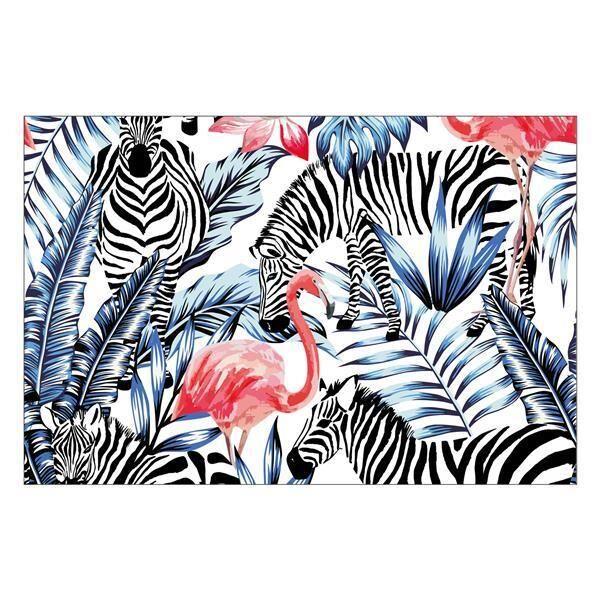Vinyl Teppich MATTEO Flamingo & Zebra 60 x 90 cm
