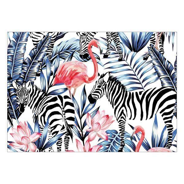 Vinyl Teppich MATTEO Flamingo & Zebra 170 x 240 cm