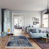 Vinyl Teppich MATTEO Used Rug Blue 118 x 180 cm