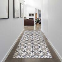 Vinyl Teppich MATTEO Tiles Used Style Blue-Beige 70 x 140 cm