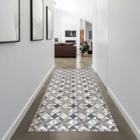 Vinyl Teppich MATTEO Tiles Used Style Blue-Beige 90 x 160 cm
