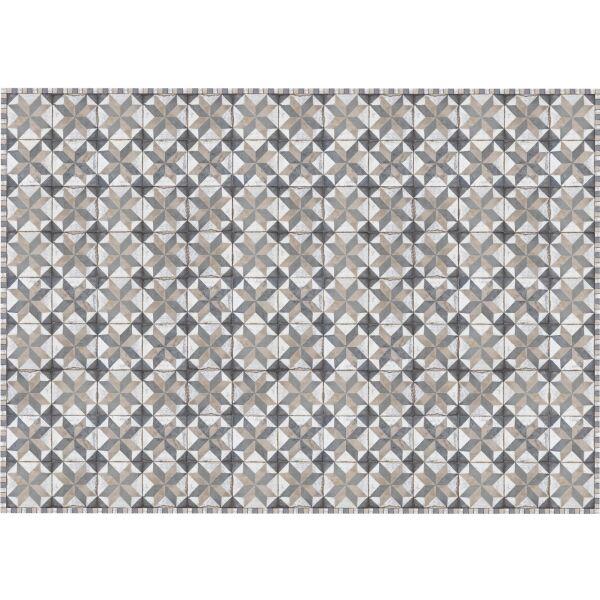 Vinyl Teppich MATTEO Tiles Used Style Blue-Beige 170 x 240 cm