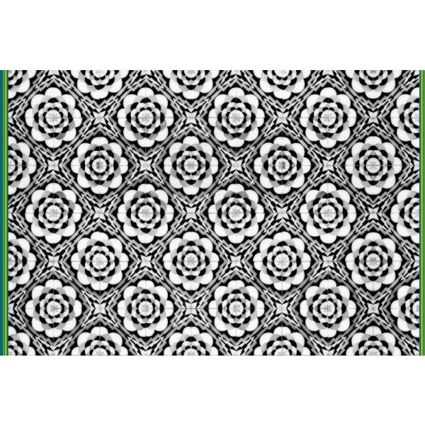 Vinyl Teppich MATTEO Tiles graphic flowers petrol rim