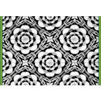Vinyl Teppich MATTEO Tiles graphic flowers petrol rim 40 x 60 cm