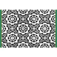 Vinyl Teppich MATTEO Tiles graphic flowers petrol rim 60 x 90 cm