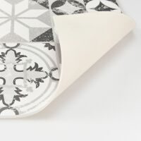 Vinyl Teppich MATTEO Tiles graphic flowers petrol rim 70 x 140 cm