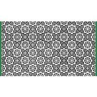 Vinyl Teppich MATTEO Tiles graphic flowers petrol rim 90 x 160 cm