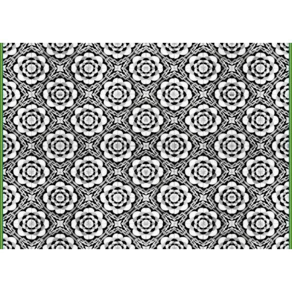 Vinyl Teppich MATTEO Tiles graphic flowers petrol rim 140 x 200 cm
