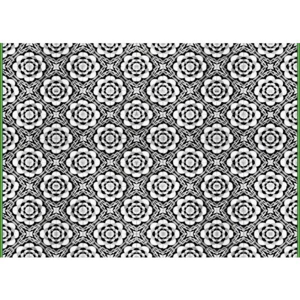 Vinyl Teppich MATTEO Tiles graphic flowers petrol rim 170 x 240 cm
