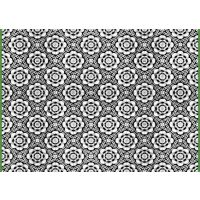 Vinyl Teppich MATTEO Tiles graphic flowers petrol rim 198 x 300 cm