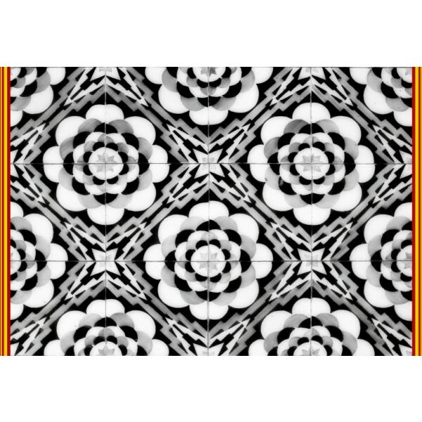 Vinyl Teppich MATTEO Tiles graphic flowers red rim 40 x 60 cm