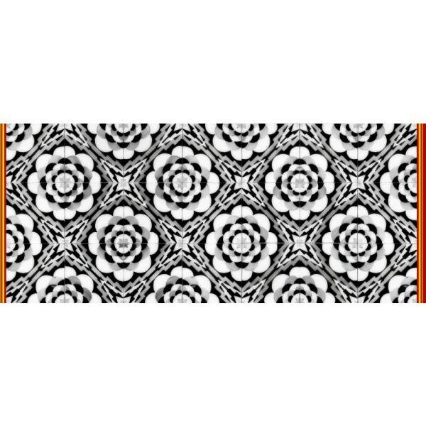 Vinyl Teppich MATTEO Tiles graphic flowers red rim 50 x 120 cm