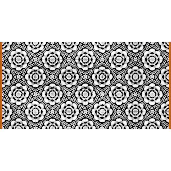 Vinyl Teppich MATTEO Tiles graphic flowers red rim 70 x 140 cm