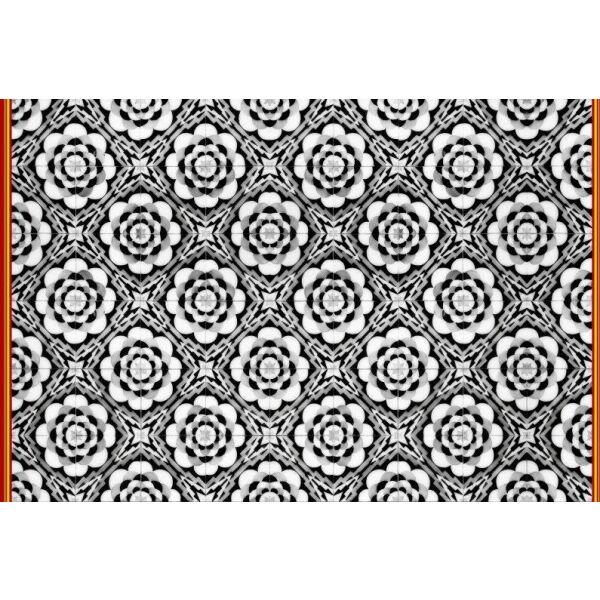 Vinyl Teppich MATTEO Tiles graphic flowers red rim 90 x 135 cm