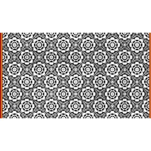 Vinyl Teppich MATTEO Tiles graphic flowers red rim 90 x 160 cm