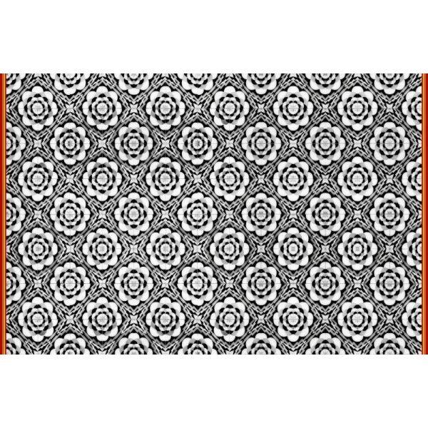 Vinyl Teppich MATTEO Tiles graphic flowers red rim 118 x 180 cm