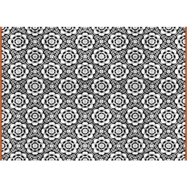 Vinyl Teppich MATTEO Tiles graphic flowers red rim 170 x 240 cm