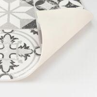 Vinyl Teppich MATTEO Tiles graphic flowers black rim