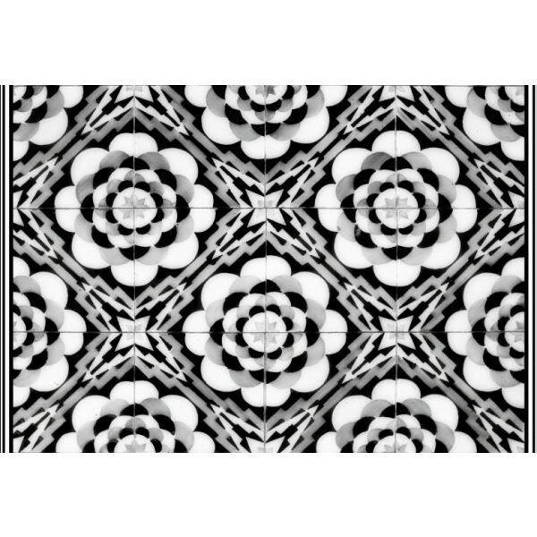 Vinyl Teppich MATTEO Tiles graphic flowers black rim 40 x 60 cm