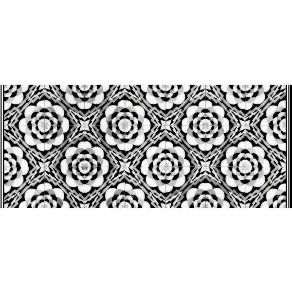 Vinyl Teppich MATTEO Tiles graphic flowers black rim 50 x 120 cm