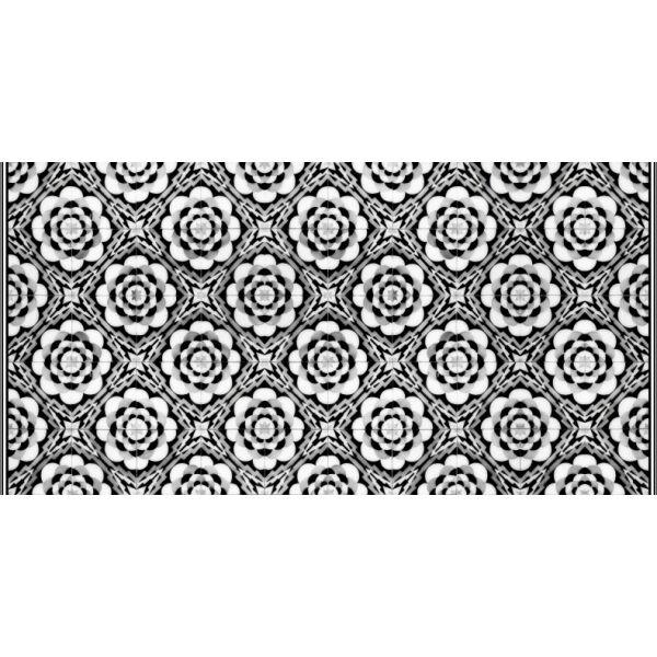 Vinyl Teppich MATTEO Tiles graphic flowers black rim 70 x 140 cm